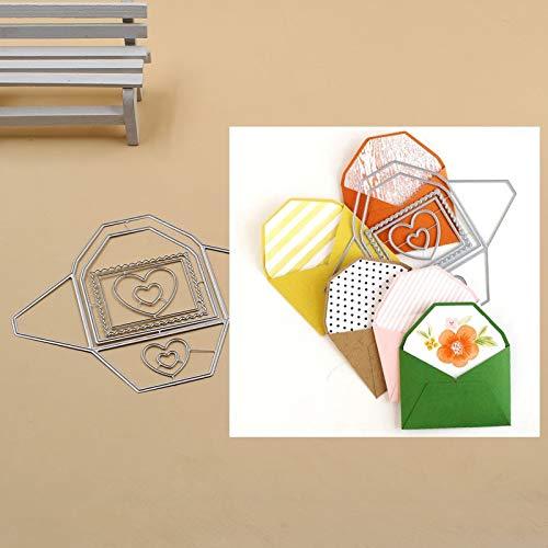 Troqueles de corte de sobres, Letmefun Plantillas de troqueles de corte de metal para el álbum de recortes Libro de fotos Tarjeta de papel Artesanía decorativa Estampado en relieve Morir 2019 NUEVO