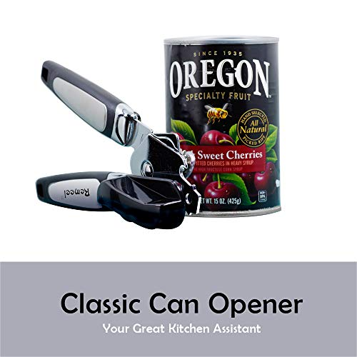 Remeel Tin Opener with Stainless Steel Cutting Mechanism, Classic Can Opener for Kitchen, Camping, Restaurant (Black)