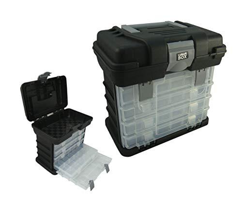 Lunar Box Étui de Rangement avec 4 Compartiments réglables Boîtes de Rangement de Boîte d'articles de pêche, (Noir)