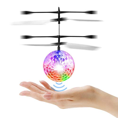 Flying Ball Outdoor Toys, Helicopter Gifts for Kids Built in Colorful LED Shinning Lights, Disco Induction Mini Infrared Hand Control Drone Flying Toys for Boys and Girls