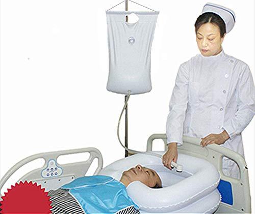 Aufblasbares Nachttisch-Shampoo-Waschbecken-Set, tragbares Bett-Haarwäschesystem für Behinderte, ältere Menschen, Heimpflege, Schwangerschaft, Bettlägerige, postoperative Patienten