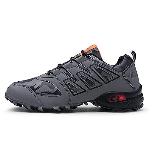 LEIKEI Hombres Zapatillas Deporte Montañismo Al Aire Libre Excursión Acampar Zapatos Trekking Corte Bajo Transpirable Caminar Zapatos Turismo Jogging Entrenamiento Calzado Deportivo,Grey-47