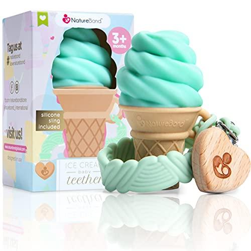 Mordedor de silicona para bebés NatureBond - Juguete para la dentición de helado con clip de silicona para sujetar el chupete   5 bonitos colores   Sin BPA (Verde menta)