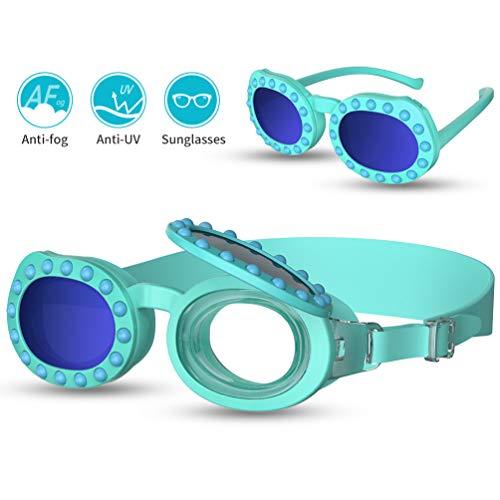 RUNACC Kinder Schwimmbrille 2-in-1 Sonnenbrille Kinder Taucherbrille Schnorchelbrille Tauchmaske Antibeschlag,Wasserdicht, Lecksicher, UV Schutz, Verstellbares Silikonband für Innen und Außenschwimmen