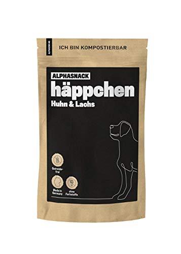 alphazoo häppchen Hundeleckerli getreidefrei, gesunder Fleischsnack zur Belohnung und Training, ideal für kleine- und mittelgroße Hunde, Verschiedene Geschmacksrichtungen (Huhn & Lachs)