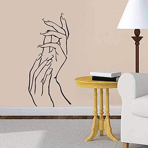 LovelyHomeWJ Manos Hermosas de Mujer y niña Ofertas de Pared salón de Belleza decoración DIY Pegatina de Pared calcomanía artística Moda Manos Maquillaje decoración 115x57cm