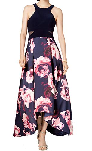 X by Xscape Womens Petites Floral Hi-Low Evening Dress Navy 6P