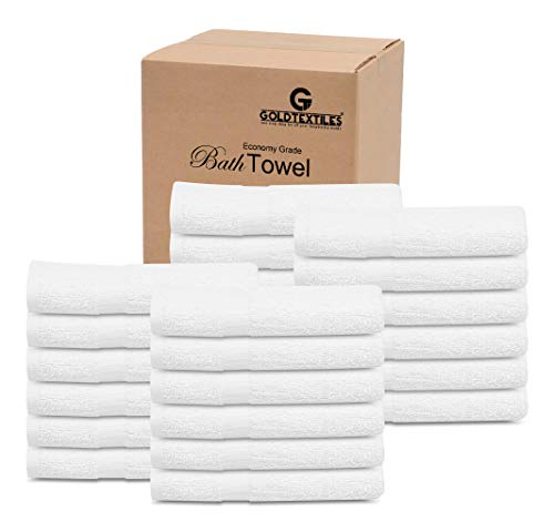 60 Pcs New White (20x40 Inches) Cotton Blend Economy Bath Towels Bulk - Light Weight , Soft & Quick Dry