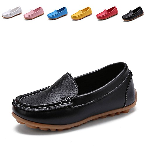 Casual Boys Girl's Kid Slip-On Loafers Oxford Dress PU Shoes (Toddler/Little Kid),TZ0043,Black,21