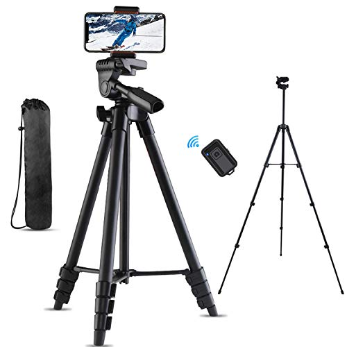 "Cell Phone Tripod, Sumcoo 53"" Extendable Phone Tripod, Lightweight Travel Tripod with Bluetooth Remote Shutter, Portable Pouch & 1/4"" Standard Screw for iPhone Android Phones, Camera & Projector"
