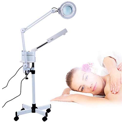 MOSTEAMER 3 en 1 UV Ozone Sol Visage Vapeur LED 5X Lampe Loupe Froid Lumière pour Peau Soins Nettoyer Facial Humidificateur Beauté Corps Spa Salon Tatouage Maquillage Utilisation