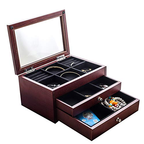 Joyero JYSD para mujer de múltiples capas de madera transparente joyería pendientes collar joyería joyería joyería caja de almacenamiento