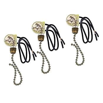 Pull Chain Switch Zing Ear ZE-109 Ceiling Fan Switch Ceiling Fan Light Lamp Replacement 3 Pack Bronze