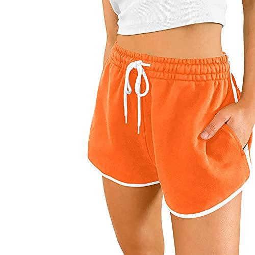 Pantalones cortos deportivos para mujer con bolsillos, pantalones deportivos para correr, informales, de algodón, para el verano, naranja, L