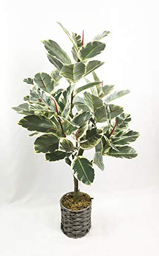 """34"""" Artificial Rubber Tree Plant Faux Tropical Ficus Elastica Tree for Home Office Decoration 1 Pack"""