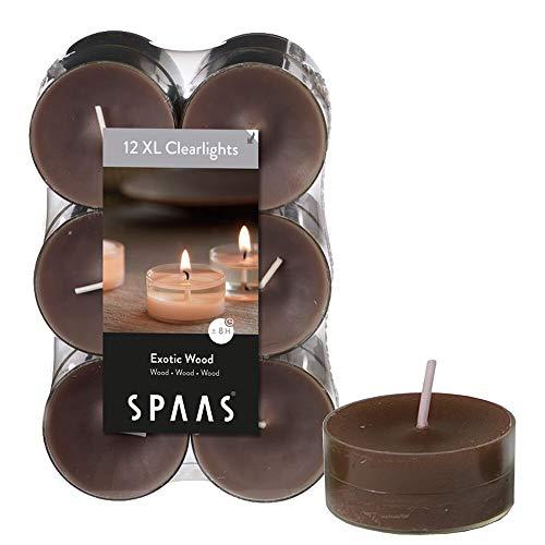 Spaas - Velas, cera de parafina, taza de plástico, marrón topo, Exotic wood