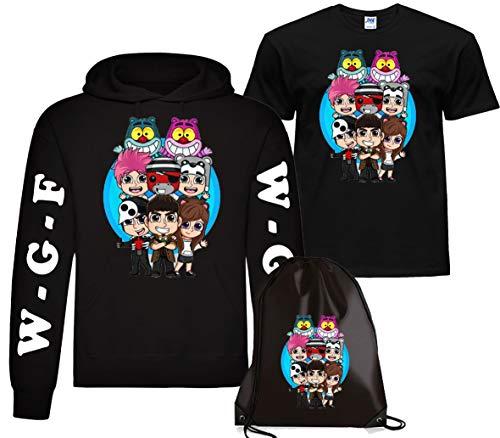 CLOTHING Felpa con Cappuccio Lyon + T-Shirt Maglietta e Sacca Lyon Team WGF WhenGamerFail Kit (7-8 Anni, Nero Logo WGF)
