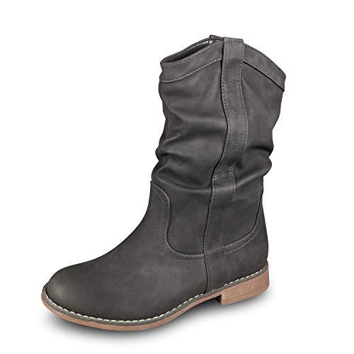 Damen Stiefel Schlupfstiefel gefüttert Stiefeletten Boots BL80 (40, Grau)