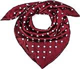 styleBREAKER Foulard quadrato da donna con stampa a pois, fazzoletto, foulard per capelli, bandana 01016171, colore:Bordò-Rosso