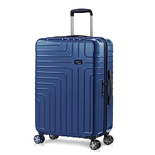 Eminent Maleta Mediana Helios 67cm 70L Maleta Viaje rígida Super Ligera 4 Ruedas Dobles 360° Candado TSA Diseño Moderno Azul