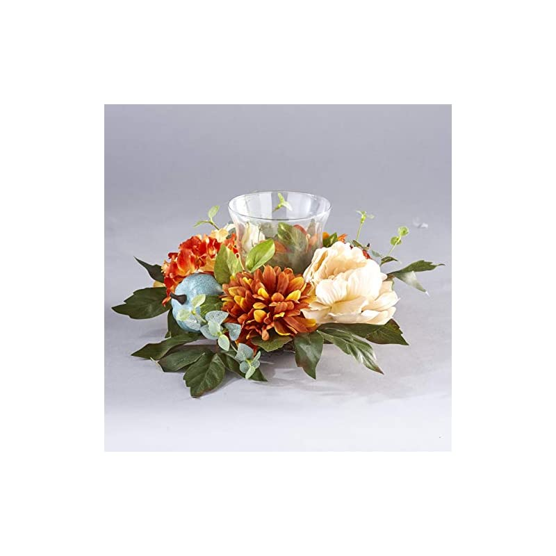 silk flower arrangements the lakeside collection harvest glass candle holder with fall flowers, artificial pumpkins