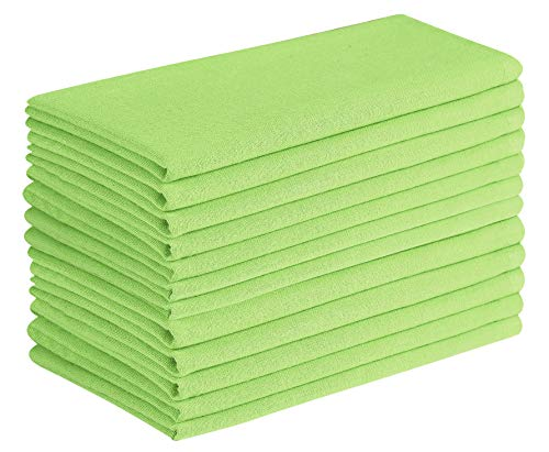Cloth Napkin in Solid Cotton Fabric- Lime Green Color, Oversized 20x20, Wedding Napkins,Cocktails Napkins,Tailored with Mitered Corners & Generous Hem, Machine Washable Dinner Napkins Set of 12
