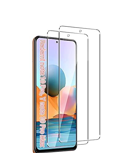 UNO' Protector pantalla cristal templado 2 Unidades compatible con Xiaomi Redmi Note 10 Pro, Redmi Note 10 Pro Max, Vidrio Templado Ultra Resistent Sin Burbujas, 9H, Antiarañazos.