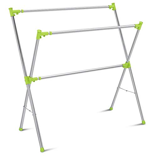 LHQ-HQ Drying Rack Drying Rack Floor Folding Telescopic Double Pole Indoor Balcony Drying Rack Drying Rack X-type Stainless Steel Clothes Drying Racks (Color : Green, Size : 133x135-240cm)