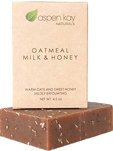 Oatmeal Soap Bar. With Organic Raw Honey, Goats Milk, Organic Shea Butter, Can Be Used as a Face Soap or All Over Body Soap. Exfoliating Soap. 4oz Bar.