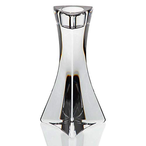 Kerzenhalter Kerzenständer dreick 13 cm Bleikristall Glas talliert transparent