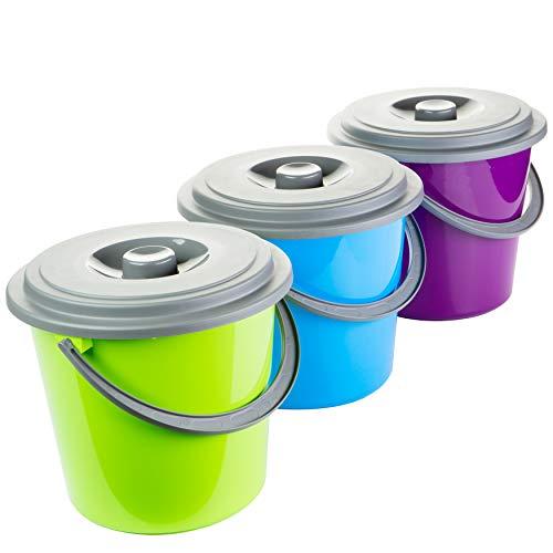 Eimer mit Deckel 5 Liter Kunststoff Lebensmittelecht 3-farbig sortiert 3 Stück