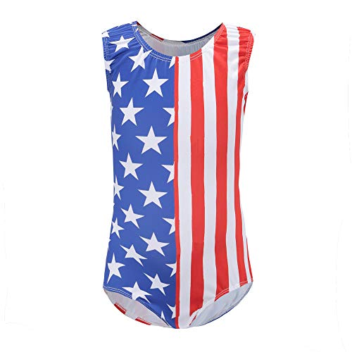 Kql Gymnastics Leotards For Girls Kids USA Flag Ballet Dancewear Star 5-14Y Training Costumes (Tag 14 For 13-14Y, B USA Flag)