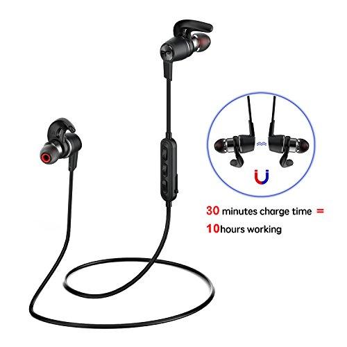 Origem 9UK-LK-AM03052 - Cuffie wireless 30 minuti Ricarica 10 ore Uso magnetico V4.1 IP67 Caschi sport stereo APTX, nero