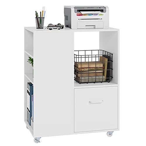 Aktenschrank Rollcontainer mit Rollen und Schubladen Büroschrank aus Holz Druckerständer für Dokumente in DIN A4, Letter-Format