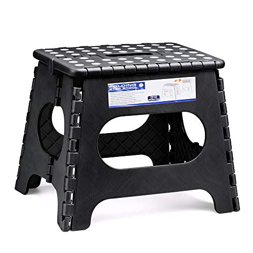 ACSTEP Acko Folding Step Stool for Kids and Adults-11 Height Lightweight Plastic Stepping Stool. Foldable Step Stool Hold up to 300lbs Non Slip Collapsible Stool Black