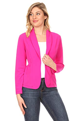 Women's Casual Office Work Long Sleeve Open Front Blazer Jacke with Plus Size Magenta 2XL