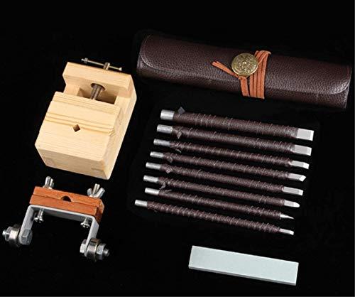 Stone Seal Engraving Kit/Stone Carving Set/Stone Engraving Tools with Clamp Stone Carving Chisel Set (8...