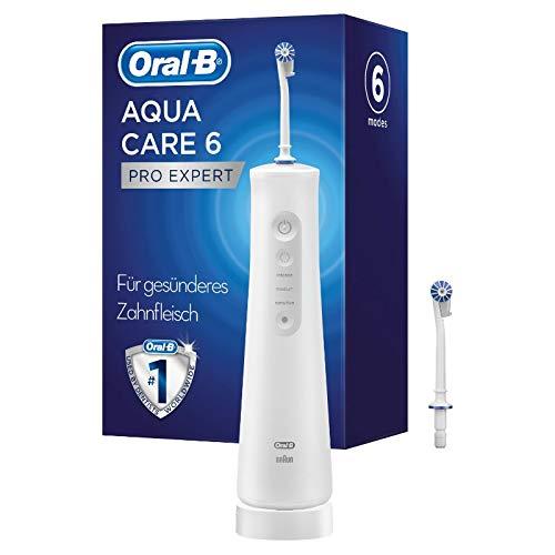 Oral-B AquaCare 6 Pro-Expert Kabellose Munddusche für eine sanfte Reinigung der Zahnzwischenräume, mit Oxyjet-Technologie, 6 Modi, 2 Ersatzdüsen, weiß/grau