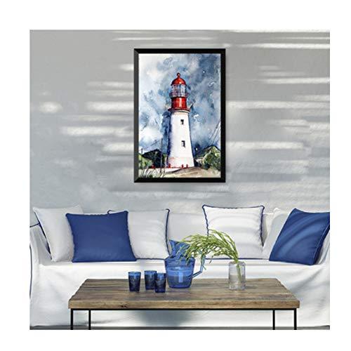 Yqgdss Leuchtturm Messer Hund Digitale Zahlen Ölgemälde Selbst Gebeizt Bereich Kinderzimmer Schlafzimmer Dekoration DIY 40x50cm