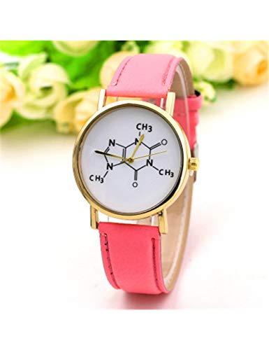 QIADS Uhren Die Beiläufigen Mehrfarbenmänner Der Art Und Weisemänner Mathematische Uhren Molekulare Uhren Lederne Uhren, Rosa
