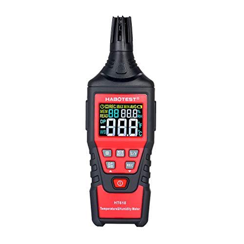 Kshzmoto HT618 Medidor de Humedad de Temperatura de Mano LCD Luz de Fondo LCD Psicrómetro Digital Termohigrómetro Higrómetro Termómetro Medidor Probador con Punto de rocío Bulbo húmedo Temperatura