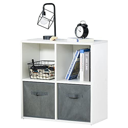 HOMCOM Estantería para Libros de 4 Cubos Librería Modular con 2 Cajones Extraíbles de Tela no Tejida para Oficina Estudio Dormitorio 61,5x30x61,5 cm Blanco y Gris