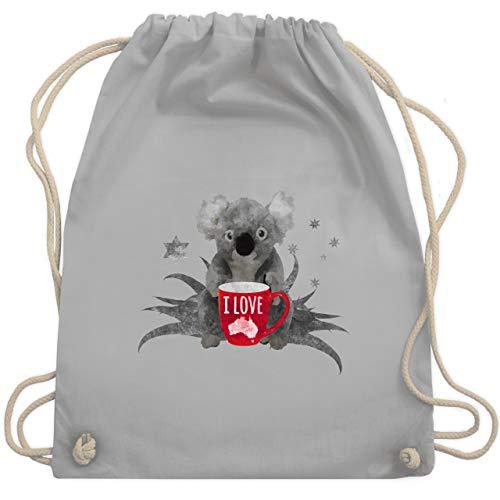 Shirtracer Kontinente - I love Australien Koala - Unisize - Hellgrau - koala rucksack - WM110 - Turnbeutel und Stoffbeutel aus Bio-Baumwolle