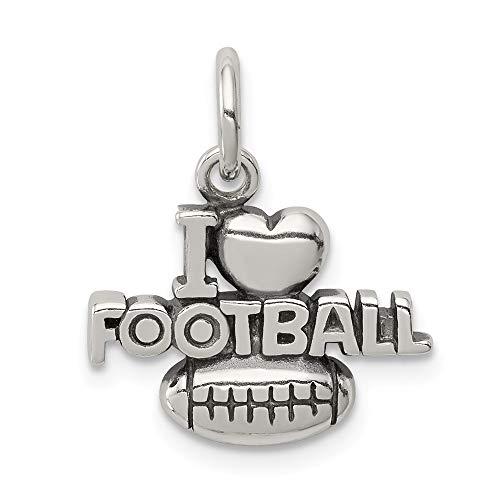 Collar con colgante de plata de ley 925 con diseño de corazón con texto en inglés 'I Love Heart'