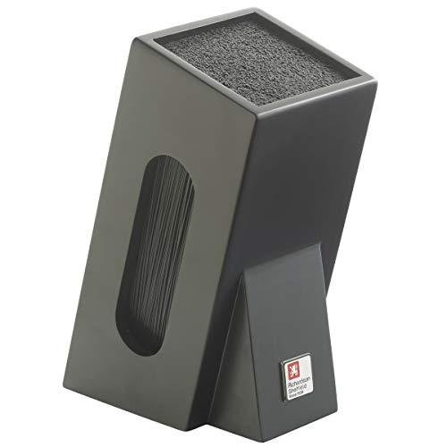Richardson Sheffield Messerblock schwarz mit Bürsten- / Borsten-Einsatz, 2-teilig, unbestückt, Holz, herausnehmbarer Einsatz für die Spülmaschine geeignet, Aufbewahrung Messer Set Messerhalter