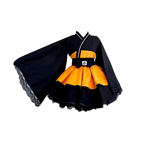 ULLAA Anime Naruto Uzumaki Naruto Halloween Carnival Cosplay Disfraz japonés Kimono Lolita Vestido gótico Talla Grande