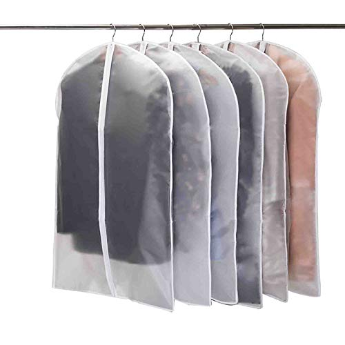 Niviy Garment Covers Bags 39 Inch Clothes Covers Protectors Moth Proof Long Dress Cover with Zip for Wardrobe Storage 6pcs 60cm*100cm (White Zip)
