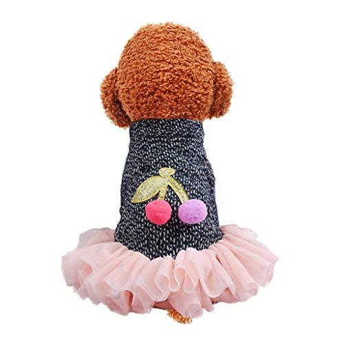 JJZXD Vestido de Encaje con Volantes para Perros Otoño Invierno Jersey de Punto para Perros Patrón de Cereza Chaqueta de Abrigo para Mascotas de Manga Larga Ropa para Perros pequeños (Size : Medium)