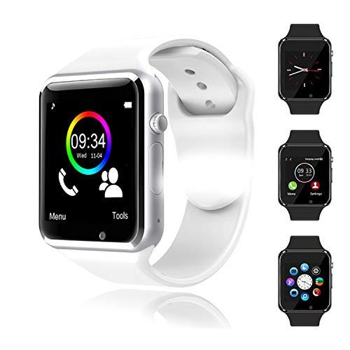 Smartwatch, Reloj Inteligente Android con Ranura para Tarjeta SIM, Reloj Inteligente para Hombres y Mujeres, Reloj Deportivo cronómetro, Reloj Inteligente Bluetooth (para Android iOS) Blanco