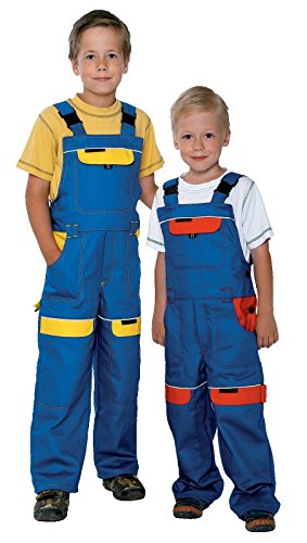 ARDON Niños Peto de Trabajo Ropa Pantalones Trabajo Pantalon Bob el Constructor Niño Ropa de Trabajo, Pantalones al jardín, 100% de algodón, Babero y Brace Azul/Rojo 104